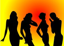 Illustration vector of silhouettes of sexy girls Stock Photo