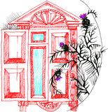 Illustration vector sketch the window and thistle. Sketch the red window and black thistle Royalty Free Stock Image