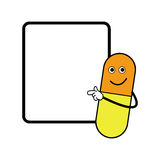 Illustration vector smiling capsule pointing on the board Stock Photos
