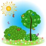 Illustration a vector summer landscape. Stock Photos