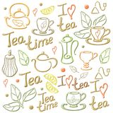 Tea elements card. Illustration with vector tea elements and words. On white background. EPS10 Royalty Free Stock Image