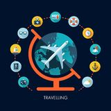 Illustration of vector travel flat design. Composition with icons Royalty Free Stock Photography