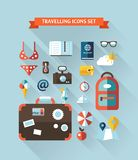 Illustration of vector travel flat design. Composition with long shadows Royalty Free Stock Photography