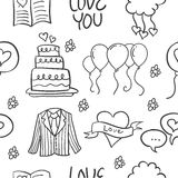 Illustration vector of wedding element doodles style Royalty Free Stock Photography