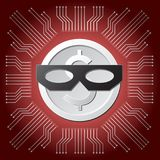 White dollar coin with black thief mask on red main board circuit background. Illustration vector of white dollar coin with black thief mask on red mainboard Stock Image