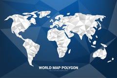 White Monotone World map polygon on Blue background: concept of digital world, Futuristic world. Illustration vector of white world map polygon with blue polygon Stock Photography