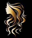 Illustration vector of women silhouette golden icon. Women face logo on black background Royalty Free Stock Photo