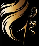 Illustration vector of women silhouette golden icon. Women hair and earring logo on black background Royalty Free Stock Image