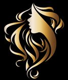 Illustration vector of women silhouette golden icon. Women face logo on black background Royalty Free Stock Photos