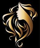 Illustration vector of women silhouette golden icon. Women face logo on black background Stock Photos