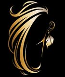 Illustration vector of women silhouette golden icon. Women hair and earring logo on black background Stock Photos