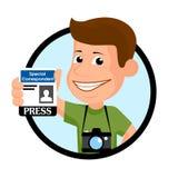Illustration vectorielle de journaliste gai Image stock
