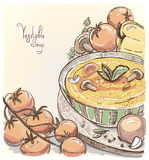 Illustration of vegetable soup. Royalty Free Stock Image