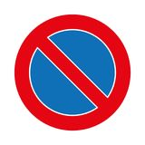 Illustration Verkehrs-Parkverbotsschildgraphik lokalisiert auf Weiß Lizenzfreies Stockbild