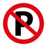 Illustration Verkehrs-Parkverbotsschildgraphik lokalisiert auf Weiß Stockfotografie