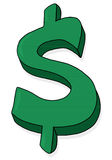 Illustration verte de signe du dollar Image stock