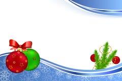 Illustration verte rouge de cadre d'or jaune de nouvelle année de fond de boule bleue abstraite de Noël Images stock