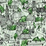 Illustration verte sans couture de ville Image stock