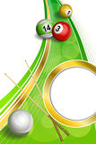 Illustration verticale de ruban de cercle d'or de billards de fond de queue de billard de cadre rouge vert abstrait de boule Images stock