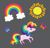 Illustration of a very nice rainbow unicorn with a rainbow sun and a butterfly. Stock Image