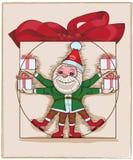 Illustration vieler elfs mit Geschenken Stockbild