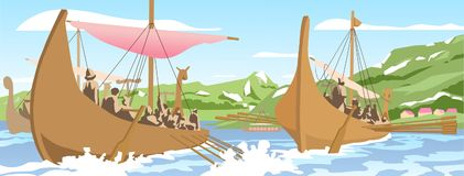 Illustration of viking ships navigating on sea. Stylized drawing of northern long boat sailing on open water Royalty Free Stock Images