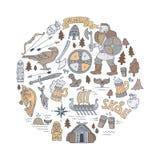 illustration Viking-tirée par la main de concept Photo stock