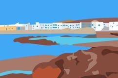 Illustration of village on the coast landscape Royalty Free Stock Photo