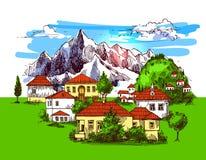 Illustration village houses Royalty Free Stock Photo