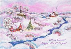 Illustration, art, drawing, village, houses, church, winter, Christmas tree,snow, landscape, white. background, new year, vector illustration