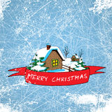 A  illustration of village hut with merry christmas banner on ice background and snow texture Royalty Free Stock Photo