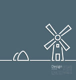 Illustration village landscape windmill haystack, design minimal Stock Photography