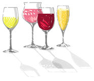Illustration with vine glasses. Hand drawn Illustration with vine glasses Royalty Free Stock Images