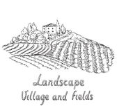 Illustration of a vineyard. Field and village. Hand drawn illustration of field and village Stock Images