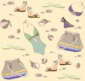 Illustration of vintage bathing suit, bag, summer Royalty Free Stock Photo