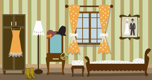 Illustration of vintage bedroom Stock Photo