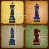 Illustration vintage chess with grunge effect Royalty Free Stock Photos