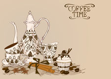Illustration with vintage coffee service royalty free illustration
