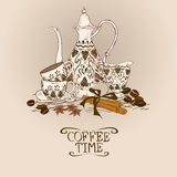 Illustration with vintage coffee service vector illustration
