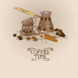 Illustration with vintage coffee turk copper and cups Stock Images