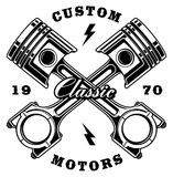 Vintage crossed pistons on white background Royalty Free Stock Images