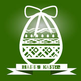 Illustration vintage egg with a white pattern on a green background. With a festive bow and the words Stock Photography