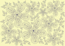 Illustration with vintage flowers. Beautiful flower vector illustration texture Stock Photos