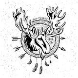 Illustration of vintage grunge label with moose Stock Images