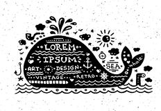 Illustration of vintage grunge label with whale Stock Images