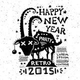 Illustration of vintage grunge New Year label. Illustration of vector vintage grunge New Year label Royalty Free Illustration