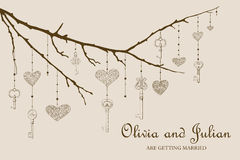 Illustration of vintage keys and hearts hanging on. Vector illustration of vintage keys and hearts hanging on the branch Royalty Free Stock Photography