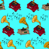 Illustration vintage music. Vintage music card with gramophone. Seamless pattern gramophones. Royalty Free Stock Images