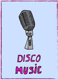 Illustration vintage music. Vintage music card with microphones. Disco music. Royalty Free Stock Photography