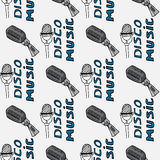 Illustration vintage music. Vintage music card with microphones. Seamless pattern of disco music. Royalty Free Stock Photo